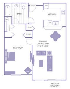 1 bed 1 bath floorplan